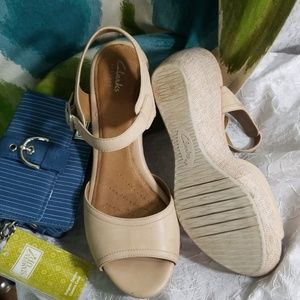 Clark's size 9 open toe wedge with ankle strap